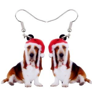 Basset Hound Christmas Acrylic Earrings